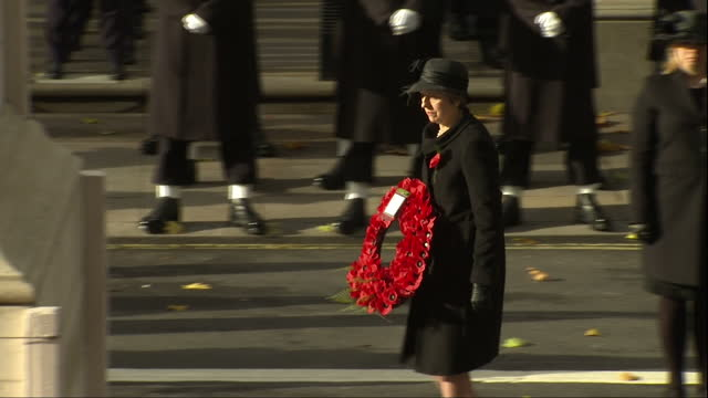 Exterior shots of political leaders laying wreaths at the Cenotaph during Remembrance Sunday commemorations including Prime Minister Theresa May...
