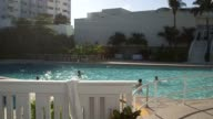 Exterior shots of pools in Miami Florida on 012615 Wide shot of people hanging out in hotel pools Wide shot of an unpopulated hotel pool Wide shot of...