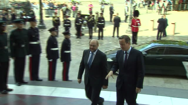 Exterior shots of Prime Minister David Cameron arriving at St Paul's Cathedral with Martin Schulz President of the European Parliament>> on June 18...