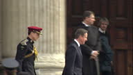 Exterior shots of Prime Minister David Cameron departing from St Paul's Cathedral after attending a memorial service to honour members of the British...