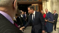 Exterior shots of Prime Minister David Cameron departing from the Guildhall after a reception for members of the armed services relatives and...