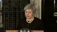 Exterior shots of Prime Minister Theresa May giving a statement outside Number 10 Downing Street regarding the terrorist attack on Westminster 'I...