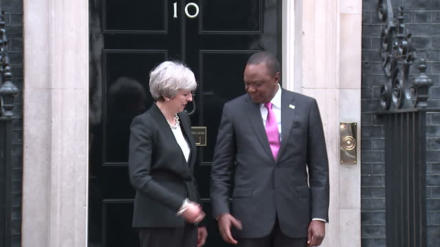 Exterior shots of Prime Minister Theresa May greeting the Kenyan President Jomo Kenyatta outside Number 10 Downing Street before holding a bilateral...