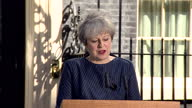 Exterior shots of Prime Minister Theresa May speaking outside Number 10 Downing Street about her decision to call a snap general election saying 'Our...