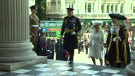 Exterior shots of Prince Charles and Camilla Duchess of Cornwall arriving at St Paul's Cathedral accompanied by Alan Yarrow Lord Mayor of London>> on...