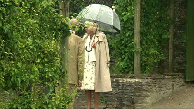 Exterior shots of Prince Charles and Camilla Duchess of Cornwall visiting the Lost Gardens of Heligan on July 20 2015 in Mevagissey England