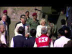 Exterior shots of Prince Charles and Camilla Duchess of Cornwall alight from helicopter and are greeted by various officials Exterior shots of Prince...