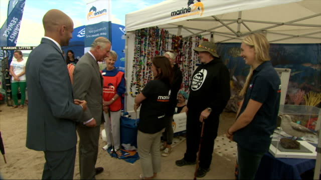 Exterior shots of Prince Charles and Camilla Duchess of Cornwall visiting Newquay beach to meet Surfers Against Sewage a campaign that raises...