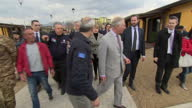 Exterior shots of Prince Charles meeting local families affected by the 2016 earthquake in Amatrice on April 02 2017 in Amatice Italy