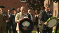 Exterior shots of Prince Charles Prince of Wales and Flemish MinisterPresident Geert Bourgeois laying wreath at the Artillery Wood Cemetery followed...