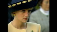 Exterior shots of Prince Charles Prince of Wales and Princess Diana Princess of Wales taking part in ceremony at the National Cemetary during Royal...