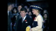 Exterior shots of Prince Charles Prince of Wales and Princess Diana Princess of Wales arriving arriving and unveiling plaque outside building during...