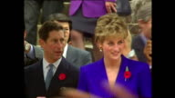 Exterior shots of Prince Charles Prince of Wales and Princess Diana Princess of Wales arriving Buddhist temple during Royal tour on 6 November 1992...