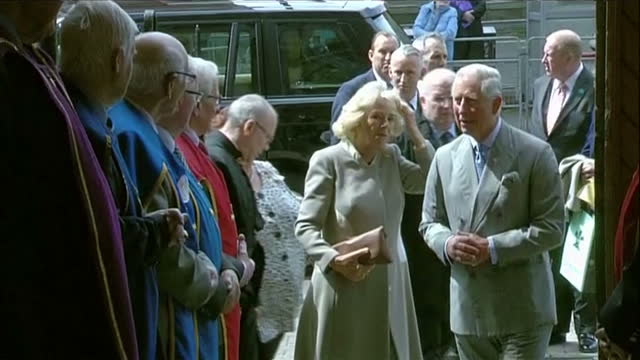 exterior shots of Prince Charles Prince of Wales Camilla Duchess of Cornwall walking into St Patrick's Church and shake hands with Church...