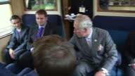 Exterior shots of Prince Charles Prince of Wales is served tea by Catering Manager Eric Hills as he visits Wirksworth Station on the Ecclesbourne...