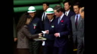 Exterior shots of Prince Charles Prince of Wales visiting pottery factory during Royal tour on 6 November 1992 Seoul South Korea