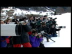 Exterior shots of Prince Charles Prince William Prince Harry Zara Phillips skiing in Switzerland photocall