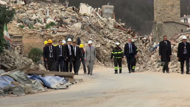 Exterior shots of Prince Charles visiting the 'red zone' in the centre of Amatrice where homes and historic buildings were destroyed by an earthquake...