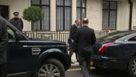 Exterior shots of Prince Edward arriving at King Edward VII Hospital with daughter Lady Louise Windsor to visit father Prince Philip Prince Edward...