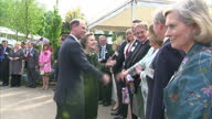 Exterior shots of Prince Edward Earl of Wessex arriving and greeting people at the Chelsea Flower Show at Royal Hospital Chelsea Prince Edward at The...