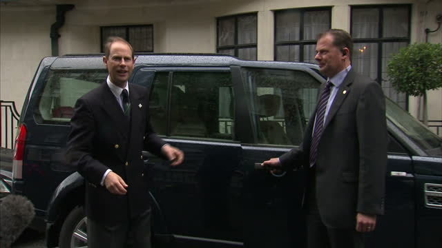 Exterior shots of Prince Edward leaving hospital and speak to the waiting media giving an update on Prince Philip's condition in hospital Prince...