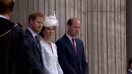 Exterior shots of Prince Harry Prince William and Catherine Duchess of Cambridge departing from St Paul's Cathedral>> on June 10 2016 in London...