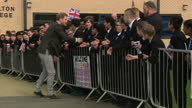 Exterior shots of Prince Harry shaking hands and speaking to pupils after visiting the Yes You Can project at Hamilton Community College on March 21...