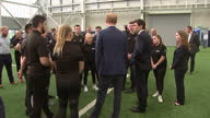 Exterior shots of Prince Harry visiting Manchester City training ground during the Royal Foundation Coach Core training session with Manchester's...