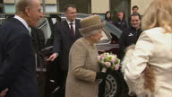 Exterior shots of Prince Philip and the Queen speaking to staff volunteers and officials before departing from Battersea Dogs Home>> on March 17 2015...
