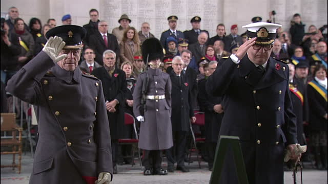 Exterior shots of Prince Philip Duke of Edinburgh and Prince Laurent of Belgium laying wreaths at the Menin Gate during a ceremony to mark the 95th...