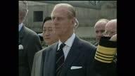 Exterior shots of Prince Philip Duke of Edinburgh visiting Korean navy frigate in Incheon port on April 21 1999 in Incheon South Korea