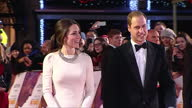 Exterior shots of Prince William and Catherine Duchess of Cambridge arriving at the premiere of 'Mandela Long Walk to Freedom' in London Duke and...