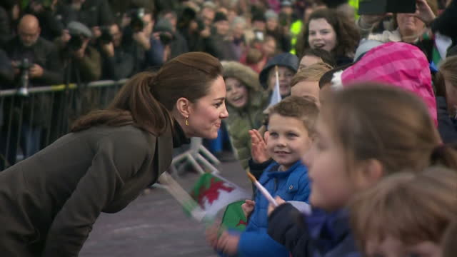 Exterior shots of Prince William and Catherine Duchess of Cambridge greeting the public on a visit to Caernarfon on November 20 2015 in Caernarfon...
