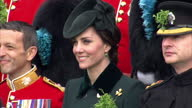 Exterior shots of Prince William and Catherine Duchess of Cambridge taking part in a St Patrick's Day ceremony with Irish Guards at the Household...