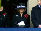 Exterior shots of Prince William and his stepmother Camilla the Duchess of Cornwall standing at the Cenotaph during Remembrance service