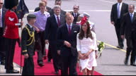 Exterior shots of Prince William Catherine arriving in the Canadian state landau Exterior shots of William Catherine being greeted before they walk...
