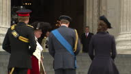 Exterior shots of Prince William Catherine Duchess of Cambridge and Prince Harry arriving at St Paul's Cathedral and being greeted by Lord Mayor of...