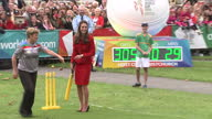 Exterior shots of Prince William Catherine Duke Duchess of Cambridge play a game of cricket together Catherine telling off Prince William for...