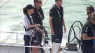 Exterior shots of Prince William Catherine Duke Duchess of Cambridge on yachts in a headtohead harbour race on April 11 2014 in Auckland New Zealand