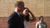 Exterior shots of Prince William Catherine Duke Duchess of Cambridge visiting India Gate Memorial lay a wreath to honour soldiers from Indian...