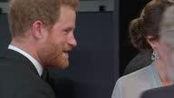Exterior shots of Prince William Duke of Cambridge Catherine Duchess of Cambridge Prince Harry arriving and meeting Barbara Broccoli Michael G Wilson...