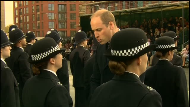 Exterior shots of Prince William inspecting graduating Metropolitan Police officers with Metropolitan Police Commissioner Cressida Dick and Chief...