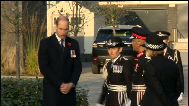 Exterior shots of Prince William meeting Metropolitan Police officers and staff in the Memorial Garden of the Peel Centre on November 03 2017 in...
