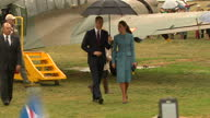 Exterior shots of Prince William sat in a classic Sopwith Pup Catherine Duchess of Cambridge tour the Omaka Aviation Heritage Centre on April 10 2014...