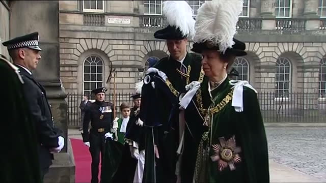 Exterior shots of Prince William walking into St Giles' Cathedral to be appointed Knight of the Most Ancient and Most Noble Order of the Thistle...