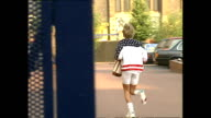 Exterior shots of Princess Diana Princess of Wales arriving at the Harbour Club in Chelsea and running in to health club and later back to car to...