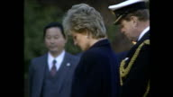 Exterior shots of Princess Diana Princess of Wales being shown round Yokohama War Cemetery a commonwealth war cemetary taking part in memorial...