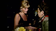 Exterior shots of Princess Diana Princess of Wales leaving Universal Cinema after premiere of Apollo 13 and chats to waiting members of the public...