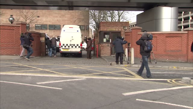 Exterior shots of prison van containing one of the accused arriving at Nottingham Crown Court for sentencing Van arrives for sentencing in Philpott...