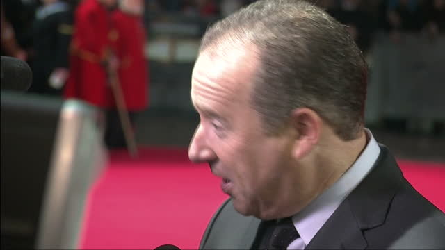 Exterior shots of producer Matthew Baer posing on the red carpet and speaking to press at the UK premiere of 'Unbroken'>> on November 25 2014 in...